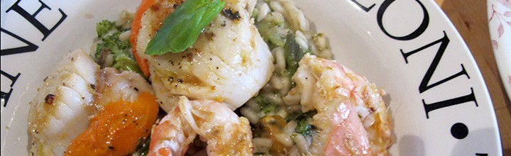 Seafood risotto paired with a peated single malt