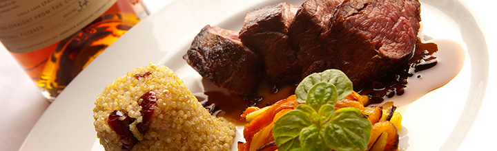 Venison Fillet Marinated in Whisky, Chestnuts, Wild Mushrooms & Root Vegetables